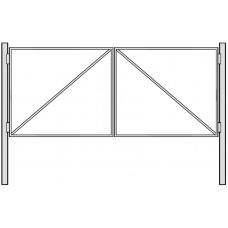 Ворота из профилированной трубы без наполнения 4 м